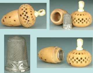 Antique Vegetable Ivory Acorn Case & Child ' S Sterling Silver Thimble Circa 1870 photo
