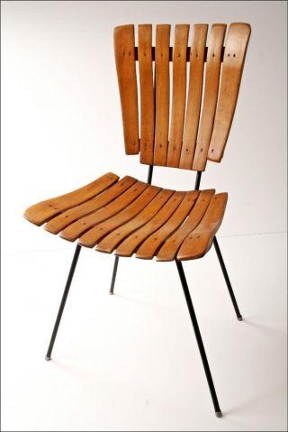 Mid Century Modern Wood Chair Vtg Arthur Umanoff Slat Wooden Danish Iron 50s/60s photo