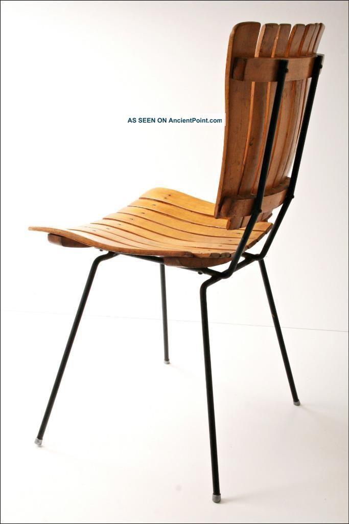 Mid century modern wood chair vtg arthur umanoff slat wooden danish