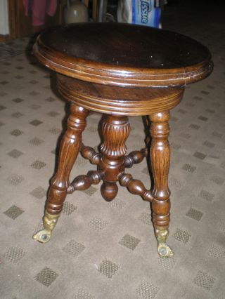 Vintage Antique Swivel Piano Organ Stool Ball Claw Feet Estate Find photo