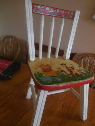 Vintage Wooden Child ' S Chair Winnie The Pooh Tigger Handpainted C Bubany 1977 photo