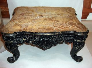 Antique/vintage Victorian Cast Iron Ornate Foot Stool Ottoman Parlor Bench photo