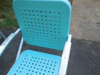Vintage 1950s Metal Lawn Chair Aqua Refinished Lattice Pattern photo
