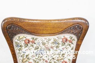 Antique Oak Art Nouveau Upholstered Accent Arm Chair photo