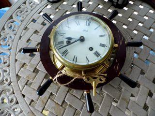 Vintage Ornate Schatz & Sohne German Nautical Brass & Wood Ships Wheel Clock photo