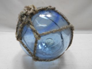 Vintage Glass Fishing Float Blue Swirls 2.  25