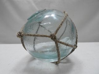 Vintage Glass Fishing Float Blue/green With Water In Net 2.  25