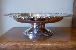 Large Heavy Vintage Silver Plated Pedestal Comport With Ornate Bowl Chased Tazza photo