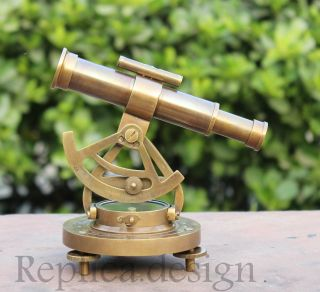 Royal Heavy Brass Survey Alidade Telescope W Base Compass Marine Replica Gift photo