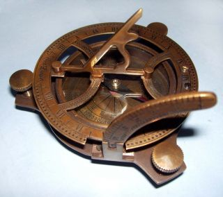Antique Brass Sundial Compass Maritime West London Nautical Collectible Gifts photo