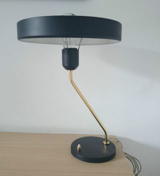 1950s Vintage Philips Black Desk Lamp By Louis Kalff Eames Stilnovo Arteluce photo