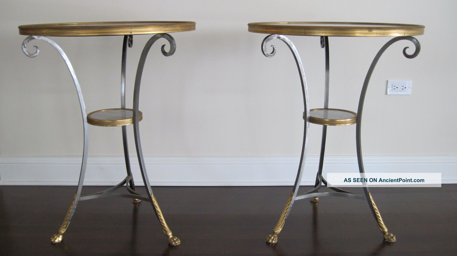 Pair Directoire Style Steel/gilt Bronze Gueridons Antique Tables - 20th Century Unknown photo