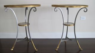 Pair Directoire Style Steel/gilt Bronze Gueridons Antique Tables - 20th Century photo