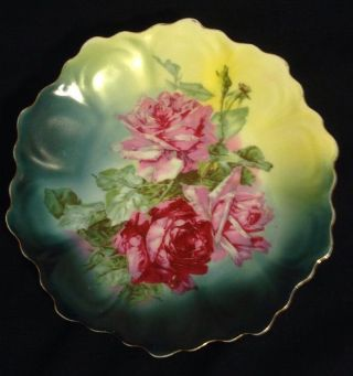 Antique Z.  S.  & C.  Bavaria Embossed Scalloped Edged Collector Serving Plate Roses photo