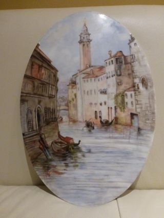 Antique Italian Hand Painted Art Porcelain Plaque,  Signed And Dated 1898 photo