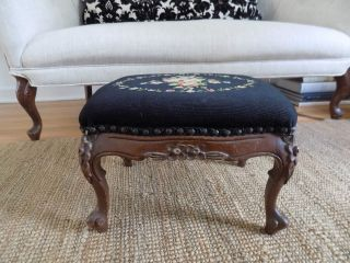 Antique Footstool Ottoman Queen Anne Black Needlepoint photo