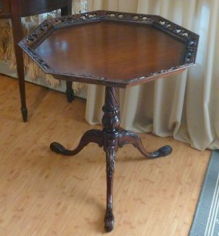 Vintage Mahogany Chippendale Style Side Tea Table Pierced Pie Crust Top Phila Pa photo