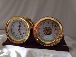 Chelsea Shipstrike Maritime Clock Barometer Usa Brass Mahogany Stand photo