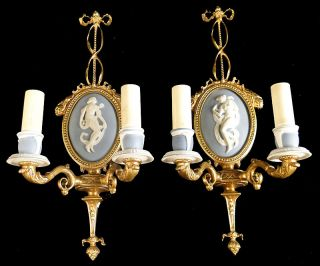 Antique French Empire Style Bronze And Wedwood Ceramic Sconces photo