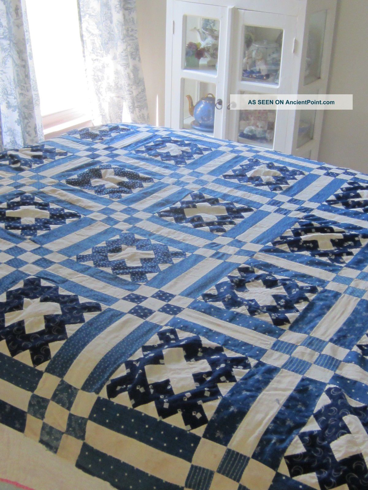 "Antique Courthouse Steps Blue And White Quilt Top 70x68"" Quilt Tops photo"