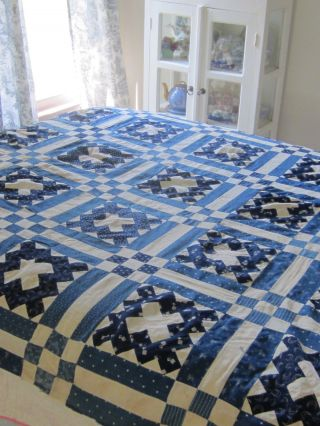 "Antique Courthouse Steps Blue And White Quilt Top 70x68"" photo"