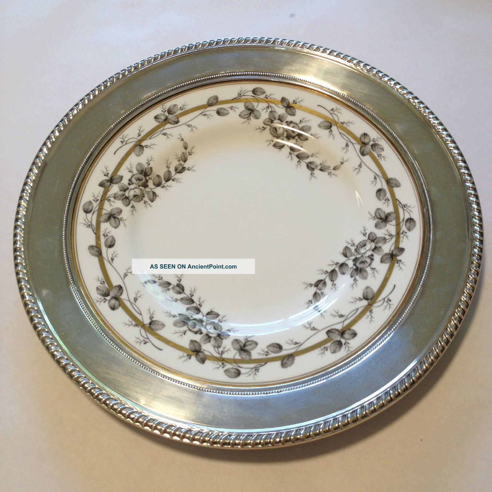 Spode Reproduction Rose Pattern A.  D.  1808 Plate Charger China/sterling Silver Vtg Plates & Chargers photo