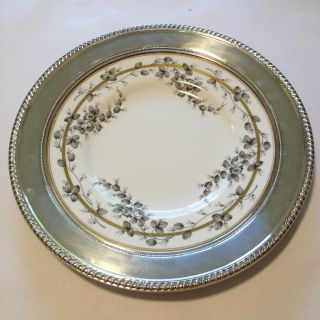 Spode Reproduction Rose Pattern A.  D.  1808 Plate Charger China/sterling Silver Vtg photo