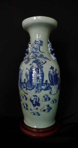 Huge Chinese Celadon Porcelain Vase Very Fine Blue Caracters - Qing Dynasty photo