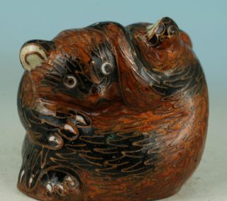 Chinese Old Cloisonne Statue Bear Hug Hand - Carved Lovely Ornaments photo