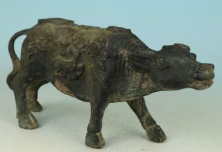 Chinese Old Bronze Statue Of Hand Carved Ox Deer Bring Money Lucky Ornaments photo
