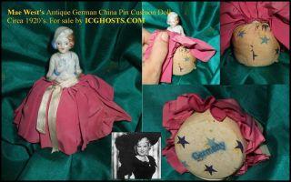 Mae West's Antique German Half Doll Pin Cushion Really Pretty photo