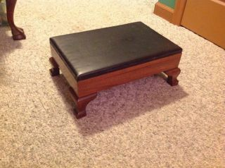 Antique Mahogany Footstool With Leather Lift - Top photo