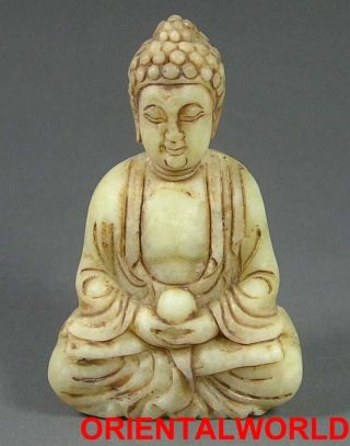 Antique Old Chinese Natural Jade Statue/toggle Kwan Yin Bless You Forever photo