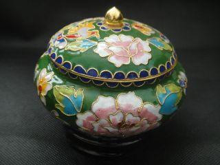 Old Decoration Brass & Enamel Cloisonne Storage Pot / Jar & Circular Base photo