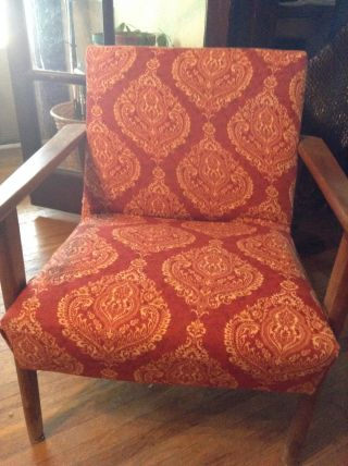 Mid Century Danish Modern Lounge Chair Recovered With Red Pattern photo