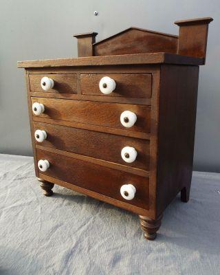 Antique 19th Century Apprentice Chest Empire Salesman Sample Signed Jewelry photo