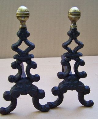 Antique Dimutive Wrought Iron Tree Form Brass Tops Fireplace Andirons Fire Dogs photo