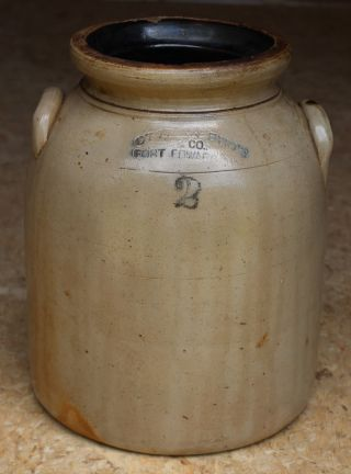 2 Gallon Salt Glazed Stone Ware Crock Ottman Bro ' S & Co.  Fort Edward N.  Y.  1800 ' S photo