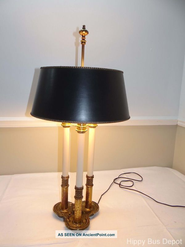 hollywood regency brass signed stiffel bouillotte lamp