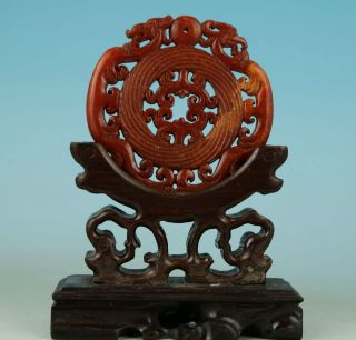 Asian Chinese Old Jade Hand Carved Dragon Collect Statue Pendant No Wood Stand photo
