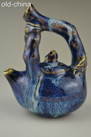 China Collectible Antique Handwork Old Porcelain Blue Glaze Exquisite Ink Pot photo