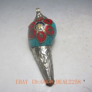 Old Ancient Chinese Turquoise Jewelry & Tibetan Silver Conch photo