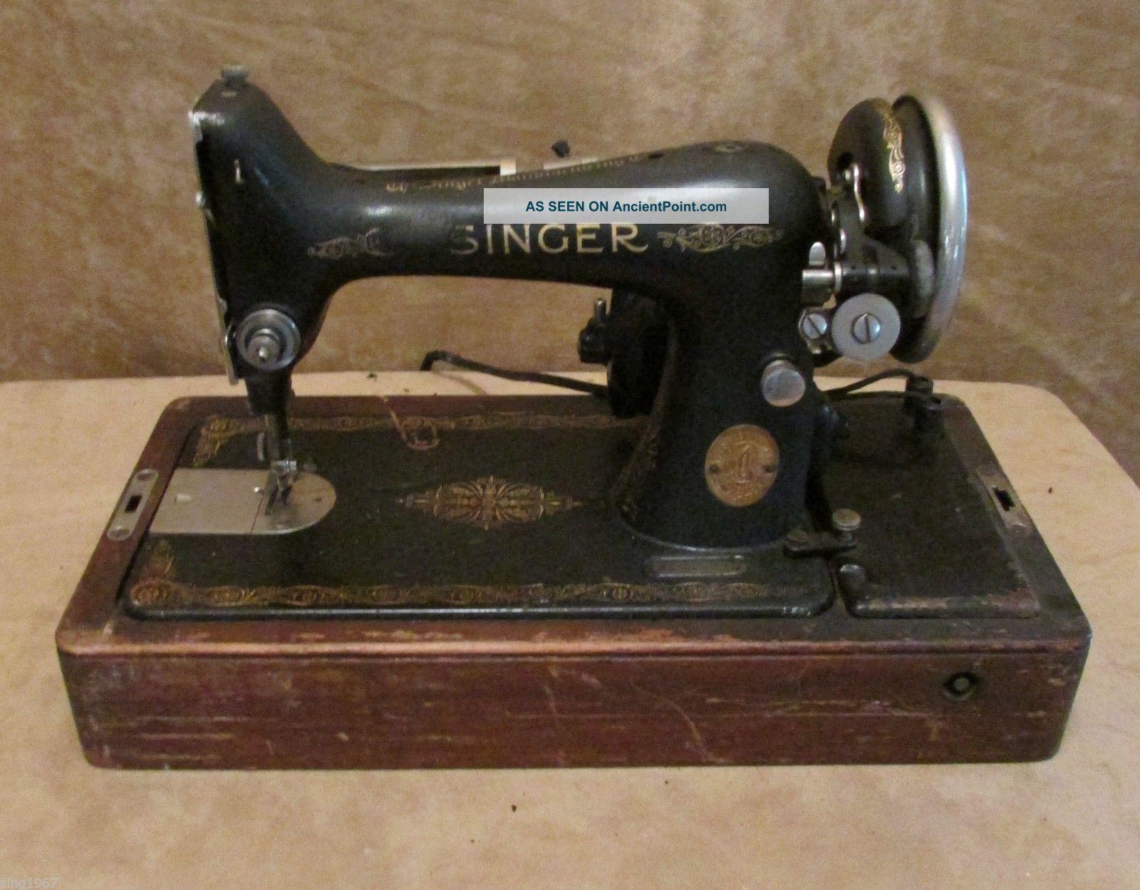 Vintage Singer 99 - 13 Industrial Sewing Machine Knee Controller Bentwood Case 99k Sewing Machines photo