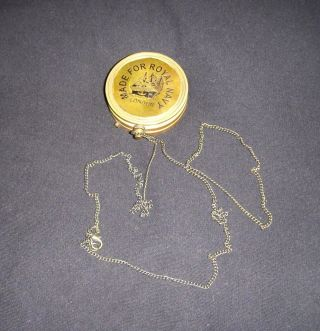 Vintage Reproduction Sir Lord Kelvin Antiqued Brass Compass Sundial With Chain photo