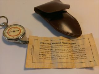 Vintage German Opisometer Map Measuring Tool & Compass With Leather Case photo