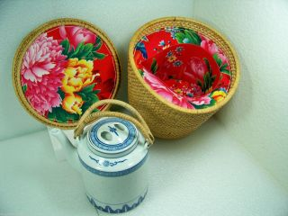 Vintage Chinese Rice Pattern Teapot In Woven Travel Basket Peony Flower Lined photo