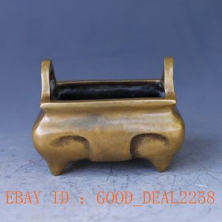 Old Chinese Handwork Craved Brass Square Pot photo