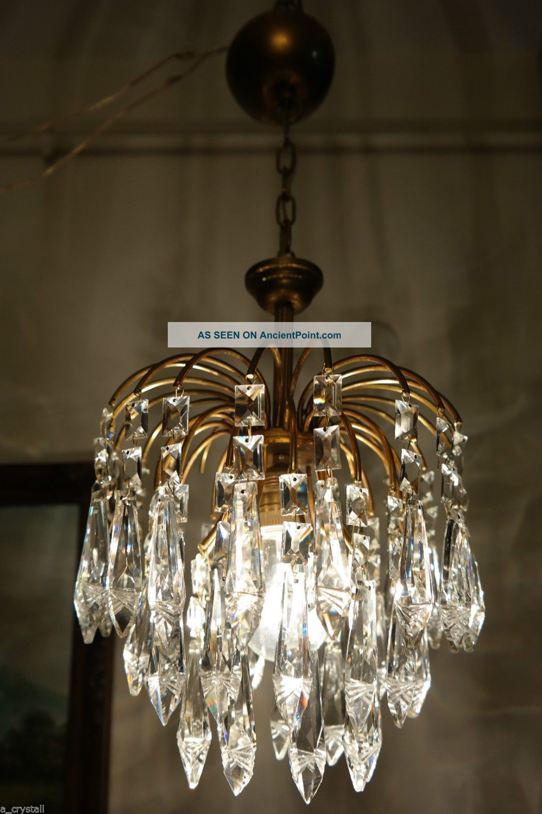 Antique Vintage Waterfall Style Czech Crystal Chandelier
