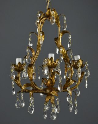 Crystal Hollywood Regency Tole Chandelier C1950 Two Available Vintage Gold photo