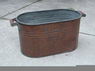 Vintage 1920s - 1930s Era Copper Wash Tub Boiler W Red.  Wooden Handles Tub 1 photo